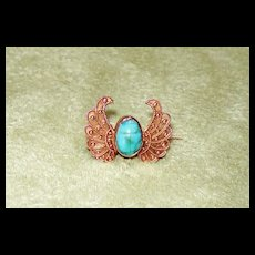 Winged Egyptian Turquoise Scarab Pin