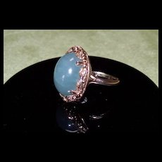 MINGS Hawaii Green Ice Jadeite and 14 Karat Gold Ring