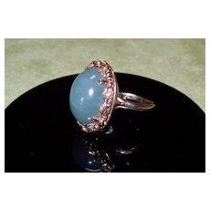 Green Ice Jade ~ 14 KTYG ring MING'S Vintage Hawaii