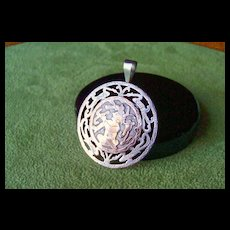 Vintage Guatemalan Silver and Gold Carved Pin & Pendant