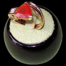 Mexican Fire Opal and Diamond Ring Set in 18 Karat Yellow Gold