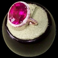 Ruby Red Rubellite Tourmaline and Diamond Ring in 14 karat rose gold
