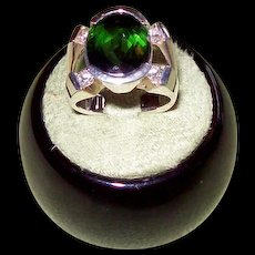 Half Bezel Set Chrome Tourmaline and Diamond Ring in 14 karat Yellow Gold