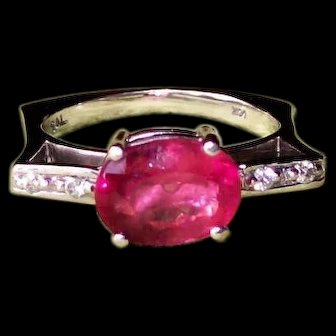 Bubble Gum Pink Tourmaline and Diamond Ring in 14 karat White Gold