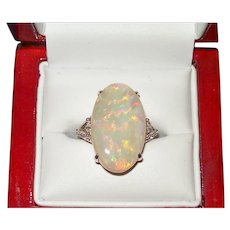 Australian Crystal Opal and Diamond Ring