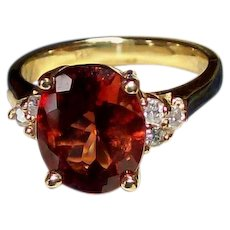 Sunstone and Diamond Ring in 14KT Yellow Gold - JUST RELISTED !!