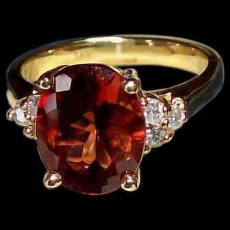 Sunstone and Diamond Ring in 14KT Yellow Gold