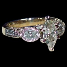 Magnificent Marquise Diamond Ring in 18KT White Gold
