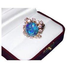 Australian Lightening Ridge Black Opal & Diamond Ring in 18KT Yellow Gold