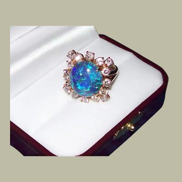 Australian Lightening Ridge Black Opal and Diamond Ring in 18KT Gold ***JULY 5th MARKDOWN***