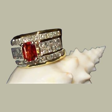 Padparadscha Sapphire & 3.50 carats of princess cut diamonds 18KT  ***JULY 5th MARKDOWN***