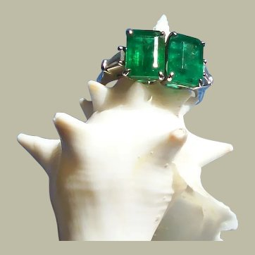 Emerald and Baguette Diamond Art Deco Platinum Ring ~  JUNE 6th PRICE REDUCED!