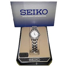 Seiko Ladies Date Adjust Watch ~ Diamond Bezel ~Two tone