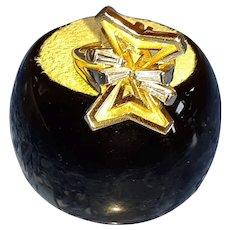 Vintage Modernist 18KT Yellow Gold & Baguette Diamond Ring
