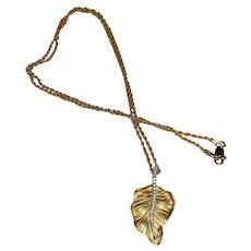 Allison~Kaufman Diamond Leaf Pendant in 14KT 2-Tone Gold