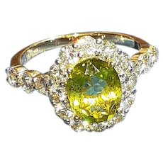 Cuprian Copper Bearing Tourmaline and Diamond Ring in 18KT Yellow Gold