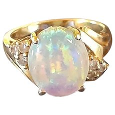 Opal and Diamond Ring in 14KT Yellow Gold
