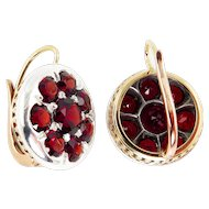 Victorian European 10.26ct Deep Red Garnet Dangling EARRINGS 14k Rose Gold and Silver