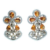 13.60ct  DIAMOND Yellow CITRINE Smoky TOPAZ Earrings Chandelier Clip Post 18k White Gold