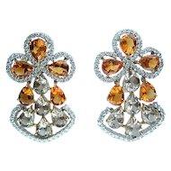 13.60ct  DIAMOND Yellow CITRINE Smoky TOPAZ Earrings Chandelier Clip Post 18k White Gold