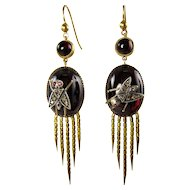 Authentic and Rare English Victorian Fringed EARRINGS of the 1870s with Garnet and Diamonds