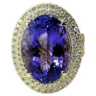 Impressive 13.49ct Estate Oval TANZANITE DIAMOND Fashion Cocktail 18k Yellow Gold Ring