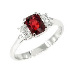 GIA 1.55ct Natural No-Heat Orangy Red SPINEL and Diamond 3 Stone Vintage Ring