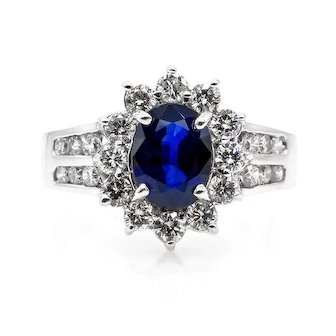 Estate Vintage 1.86ct Blue Sapphire & Diamond Cluster Engagement 14k White Gold Ring