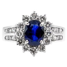 Estate Vintage 1.86ct Blue Sapphire & Diamond Cluster Engagement 14k White Gold Ring