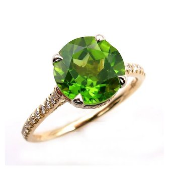 3.40ct ROUND Cut Natural PERIDOT Engagement DIAMOND Wedding Pave 18k Yellow Gold Ring