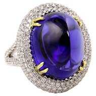 Phenomenal Estate GIA 26.30ct Sugarloaf TANZANITE Deep AAA Bluish Violet Diamond 18k Ring