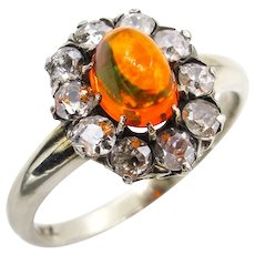 Victorian 2.45ct Antique Vintage FIRE OPAL and Old European DIAMOND Cocktail Cluster Engagement Ring
