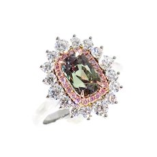 Rare Gem AGL 3.01ctw Natural Alexandrite Fancy Pink Diamond Cluster Platinum Ring