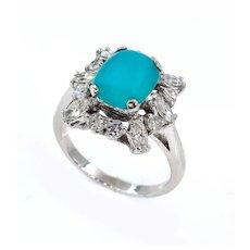 Vintage Estate 3.08ct Natural Turquoise Diamond Cluster Platinum Ring