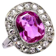 "GIA Natural ""NO HEAT"" 3.68ct Hot Vivid Pink Sapphire Diamond 18k Ring, 1910"
