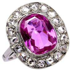 "GIA Natural ""NO HEAT"" 3.68ct Hot Vivid Pink Sapphire Diamond 18k Ring, 1910"