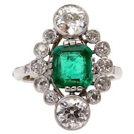 Fine Art Nouveau 4.00ctw GIA COLOMBIA Green Emerald OLD European Diamond Platinum Ring