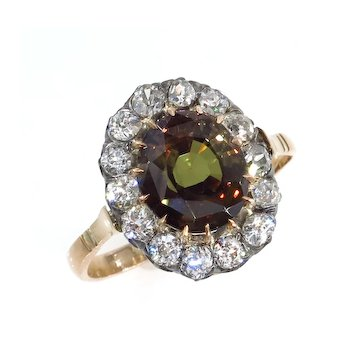 Victorian GIA 4.42ctw Natural ALEXANDRITE & Old Mine Diamonds Antique Cluster Ring