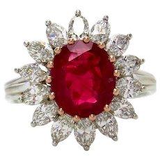 "GIA ""NO HEAT"" 4.43ct BURMA Red Ruby Diamond Cluster Platinum Vintage Ring"