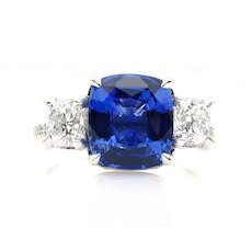 5.01ctw Ceylon GIA Natural Royal Blue Sapphire and Diamond Platinum 3 Stone Ring