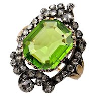 French 5.0cttw Authentic Antique Victorian Peridot and Diamond Cluster Cocktail Ring