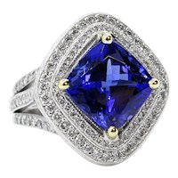 Fine 6.0ctw Vintage Cushion Natural Dark TANZANITE Diamond Platinum 18k Ring