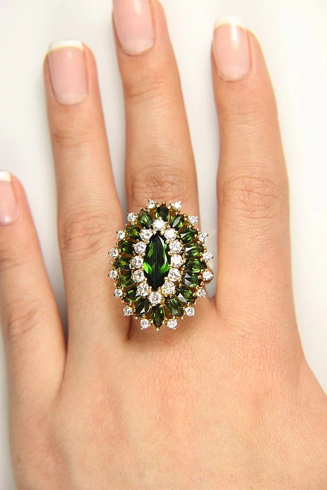 9.73ctw Vintage Retro Green TOURMALINE Diamonds 18k Yellow ...