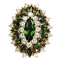 9.73ctw Vintage Retro Green TOURMALINE Diamonds 18k Yellow Gold Cocktail Ring
