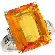 9.66ct GIA Natural Yellow-Orange Sapphire and Diamond Platinum Ring
