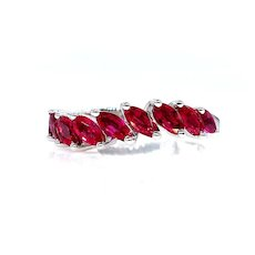 DAMIANI 2.0ct Red RUBY Marquise Estate Wedding ANNIVERSARY 18k White Gold Band Ring