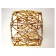 A Unique Estate 18K Rose Gold Cuff Diamond Bracelet 10.00CT