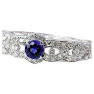 Fine 5.53ctw TANZANITE Deep AAA Violetish Blue Diamond 14k White Gold Bangle Cuff Bracelet