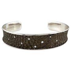 Cresber Textured Diamond Set 18k White Gold Bangle Cuff Bracelet, Spain