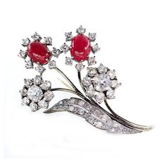 Antique 1900s 11.35ctw Old Mine Diamond Cluster and Cabochon Ruby Flower Motif Brooch Pin